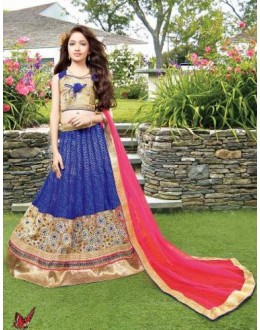 Kids Wear Girl Blue & Pink Net Lehenga Choli - 72765