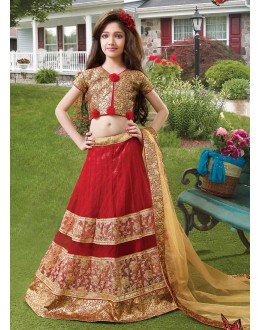Kids Wear Designer Red & Brown Net Lehenga Choli - 72767