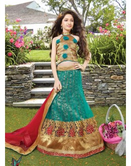 Kids Wear Girl Green & Red Net Lehenga Choli - 72768