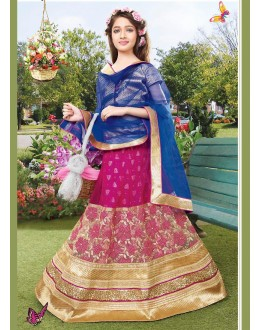 Kids Wear Designer Pink & Blue Net Lehenga Choli - 72769