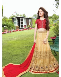Kids Wear Beautiful Beige & Red Net Lehenga Choli - 72770
