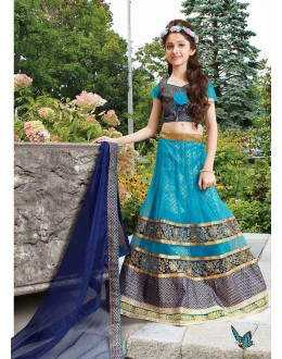 Kids Wear Beautiful Sky Blue Net Lehenga Choli - 72771