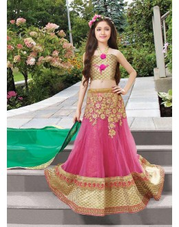 Kids Wear Beautiful Pink Net Lehenga Choli - 72772