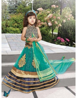 Kids Wear Designer Green & Blue Net Lehenga Choli - 72773