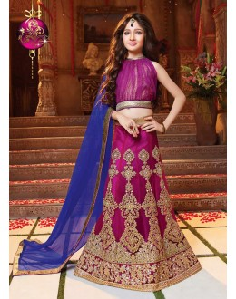 Kids Wear Beautiful Violet Net Lehenga Choli - 72774