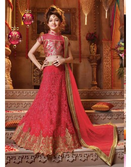 Kids Wear Beautiful Red Net Lehenga Choli - 727725