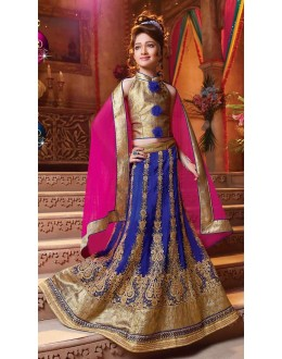 Kids Wear Designer Blue Net Lehenga Choli - 72776