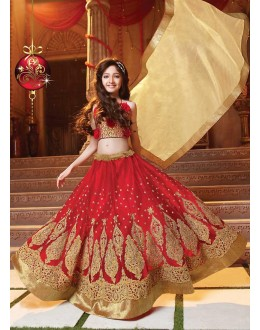 Kids Wear Beautiful Red Net Lehenga Choli - 72777