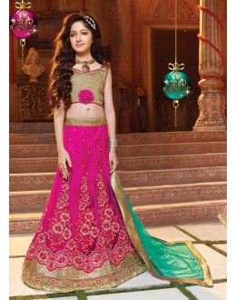 Kids Wear Designer Pink Net Lehenga Choli - 72778