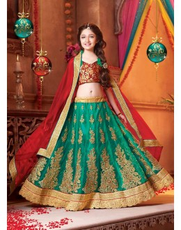 Kids Wear Designer Green Net Lehenga Choli - 72780