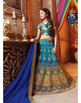 Kids Wear Designer Blue Net Lehenga Choli - 72782