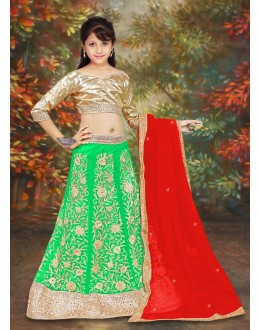 Kids Wear Girl Green & Red Net Lehenga Choli - 75103