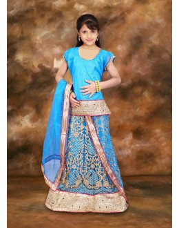 Kids Wear Designer Sky Blue Lehenga Choli - 75104
