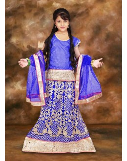 Kids Wear Girl Blue Lehenga Choli - 75108