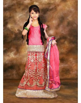 Kids Wear Designer Pink Net Lehenga Choli - 75109