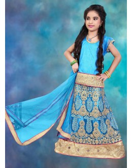 Kids Wear Beautiful Sky Blue Net Lehenga Choli - 76631