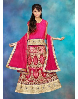 Kids Wear Designer Pink Net Lehenga Choli - 76635