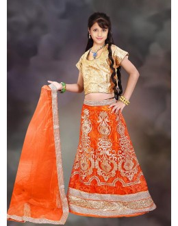 Kids Wear Girl Orange & Beige Net Lehenga Choli - 76637