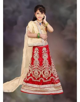 Kids Wear Designer Red & Beige Net Lehenga Choli - 76638