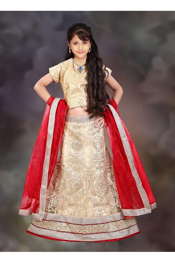 Kids Wear Girl Beige & Red Net Lehenga Choli - 76639
