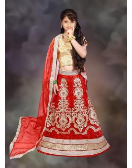Kids Wear Beautiful Red & Beige Net Lehenga Choli - 76640