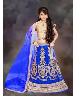 Kids Wear Beautiful Blue Net Lehenga Choli - 76641