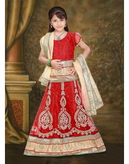 Kids Wear Designer Red Net Lehenga Choli - 76642