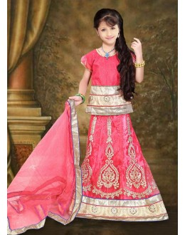 Kids Wear Designer Pink Net Lehenga Choli - 76644