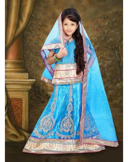 Kids Wear Beautiful Sky Blue Net Lehenga Choli - 76645