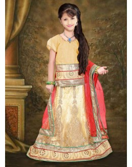 Kids Wear Beautiful Beige & Red Net Lehenga Choli - 76646