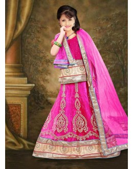 Kids Wear Designer Pink Net Lehenga Choli - 76647