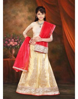 Kids Wear Designer Beige & Red Net Lehenga Choli - 76648