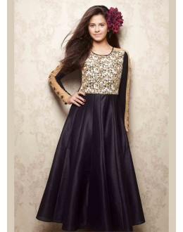 Kids Wear Designer Readymade Black Silk Gown - 78923