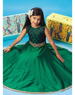 Kids Wear Girl Readymade Green Silk Gown - 78924