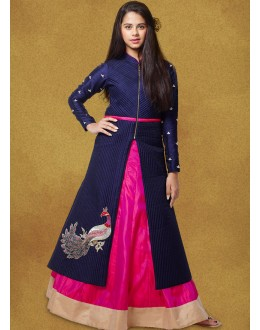 Kids Wear Readymade Blue Indo Western Suit - 78926