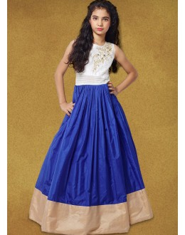Kids Wear Girl Readymade Blue Silk Gown - 78927