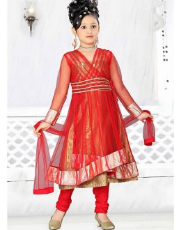 Kids Wear Beautiful Red Net Anarkali Suit - 48309