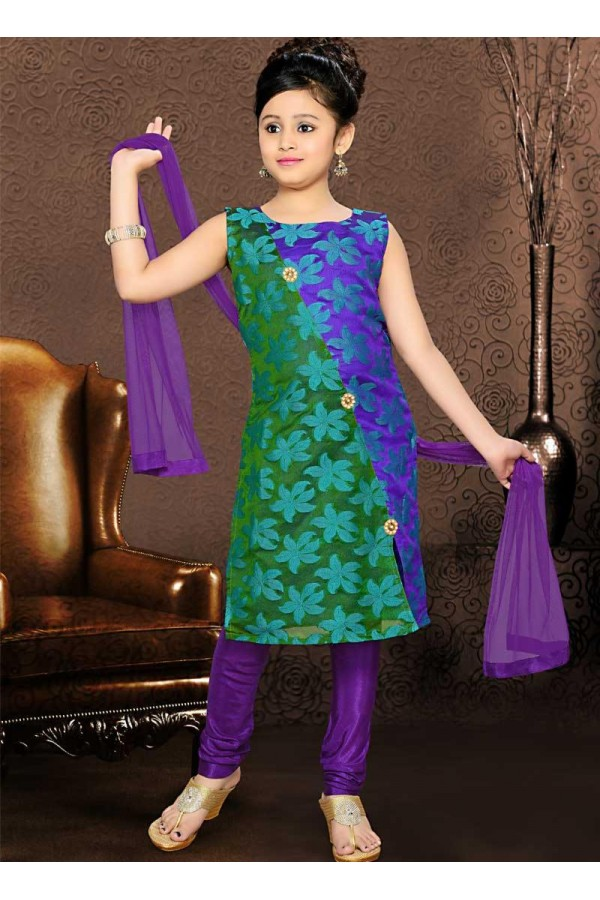 Kids Wear Readymade Multicolour Net Salwar Suit - 49412