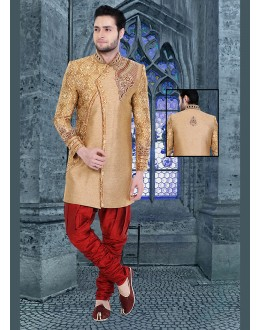 Wedding Wear Brown & Maroon Jute Silk Sherwani - 75487