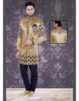 Designer Brown & Navy Blue Silk Sherwani - 75492