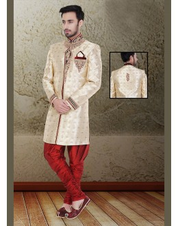 Wedding Wear Brown & Maroon Jacquard Sherwani - 75494