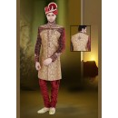 Wedding Wear Brown & Maroon Jacquard Sherwani - 75497