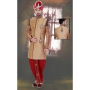 Wedding Wear Brown & Red Jacquard Sherwani - 75501