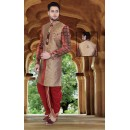 Wedding Wear Brown & Maroon Jute Sherwani - 75502