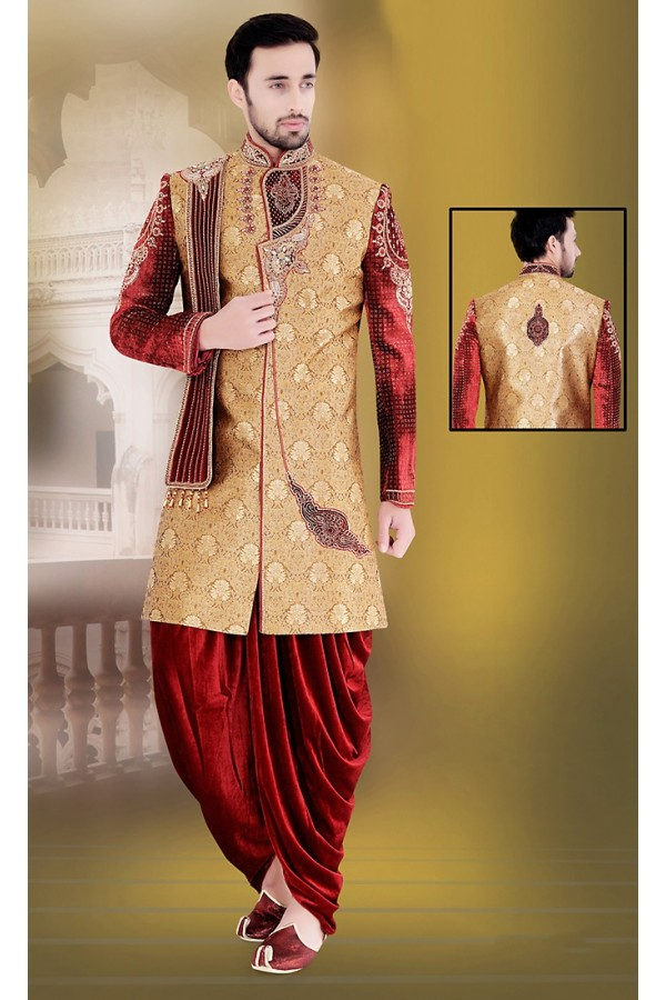 Wedding Wear Brown & Maroon Jacquard Sherwani - 75503