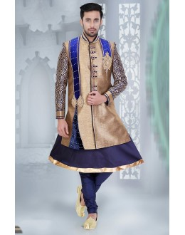 Designer Brown & Navy Blue Jute Sherwani - 75505