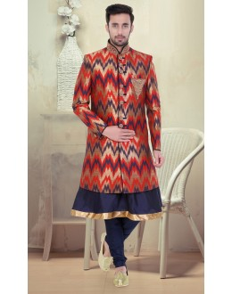 Ethnic Wear Brown & Navy Blue Brocade Sherwani - 75508