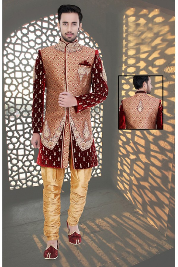 Wedding Wear Maroon & Beige Brocade Sherwani - 75510