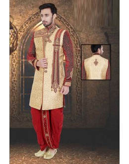 Wedding Wear Beige & Red Jacquard Sherwani - 75516