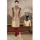 Traditional Brown & Maroon Jute Sherwani - 75519